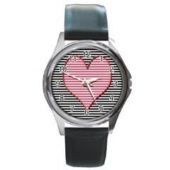 Heart Stripes Symbol Striped Round Metal Watch