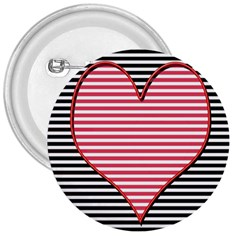Heart Stripes Symbol Striped 3  Buttons