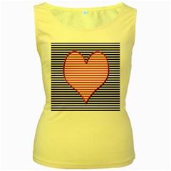 Heart Stripes Symbol Striped Women s Yellow Tank Top