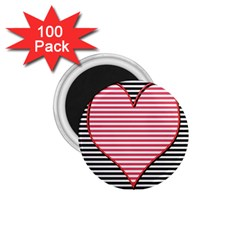 Heart Stripes Symbol Striped 1 75  Magnets (100 Pack)
