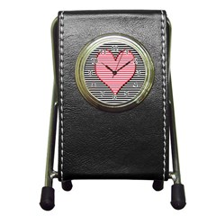 Heart Stripes Symbol Striped Pen Holder Desk Clocks