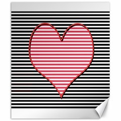 Heart Stripes Symbol Striped Canvas 20  X 24
