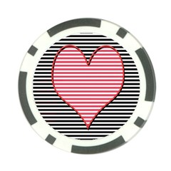 Heart Stripes Symbol Striped Poker Chip Card Guard