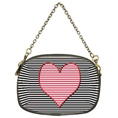 Heart Stripes Symbol Striped Chain Purses (one Side)