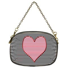 Heart Stripes Symbol Striped Chain Purses (two Sides)