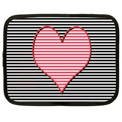 Heart Stripes Symbol Striped Netbook Case (xl)