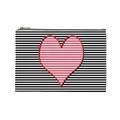 Heart Stripes Symbol Striped Cosmetic Bag (large)