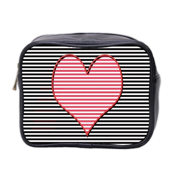 Heart Stripes Symbol Striped Mini Toiletries Bag 2-Side
