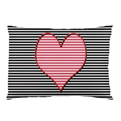 Heart Stripes Symbol Striped Pillow Case (two Sides)