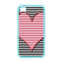 Heart Stripes Symbol Striped Apple Iphone 4 Case (color)