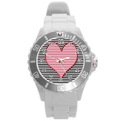 Heart Stripes Symbol Striped Round Plastic Sport Watch (l)