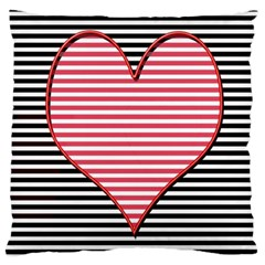 Heart Stripes Symbol Striped Large Cushion Case (two Sides)