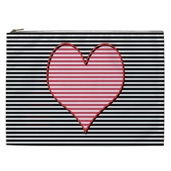 Heart Stripes Symbol Striped Cosmetic Bag (xxl)