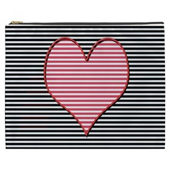 Heart Stripes Symbol Striped Cosmetic Bag (xxxl)