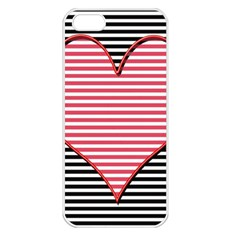 Heart Stripes Symbol Striped Apple Iphone 5 Seamless Case (white)