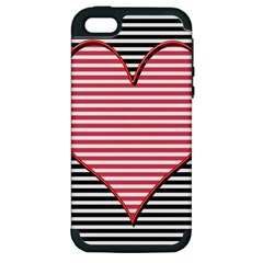 Heart Stripes Symbol Striped Apple Iphone 5 Hardshell Case (pc+silicone)