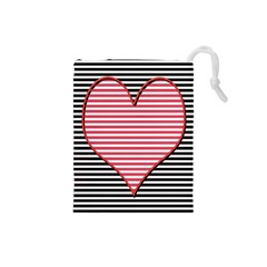 Heart Stripes Symbol Striped Drawstring Pouches (small)