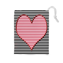 Heart Stripes Symbol Striped Drawstring Pouches (large)