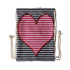 Heart Stripes Symbol Striped Drawstring Bag (small)