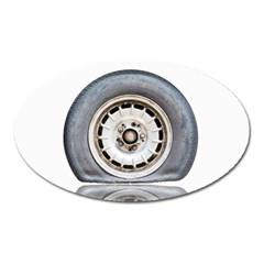Flat Tire Vehicle Wear Street Oval Magnet