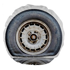 Flat Tire Vehicle Wear Street Large 18  Premium Round Cushions