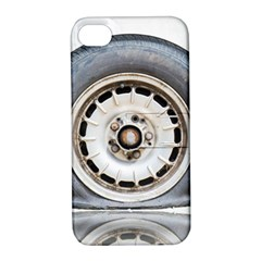 Flat Tire Vehicle Wear Street Apple Iphone 4/4s Hardshell Case With Stand