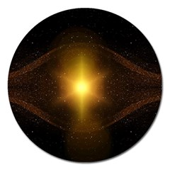 Background Christmas Star Advent Magnet 5  (round)