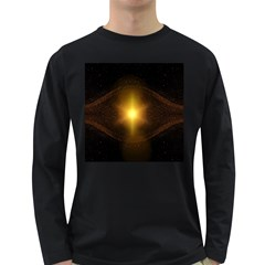 Background Christmas Star Advent Long Sleeve Dark T Shirts
