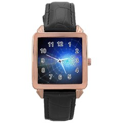 Network Cobweb Networking Bill Rose Gold Leather Watch
