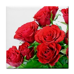 A Bouquet Of Roses On A White Background Tile Coasters