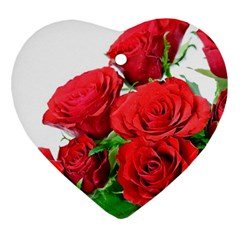 A Bouquet Of Roses On A White Background Ornament (heart)