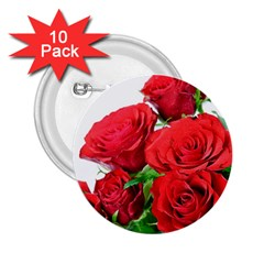 A Bouquet Of Roses On A White Background 2 25  Buttons (10 Pack)
