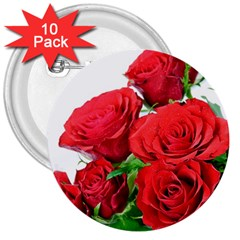 A Bouquet Of Roses On A White Background 3  Buttons (10 Pack)