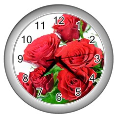 A Bouquet Of Roses On A White Background Wall Clocks (silver)