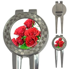 A Bouquet Of Roses On A White Background 3 In 1 Golf Divots