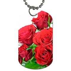 A Bouquet Of Roses On A White Background Dog Tag (one Side)
