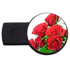 A Bouquet Of Roses On A White Background Usb Flash Drive Round (2 Gb)