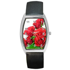 A Bouquet Of Roses On A White Background Barrel Style Metal Watch