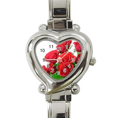 A Bouquet Of Roses On A White Background Heart Italian Charm Watch