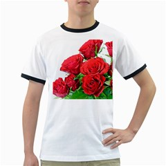 A Bouquet Of Roses On A White Background Ringer T Shirts