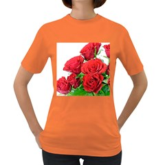 A Bouquet Of Roses On A White Background Women s Dark T Shirt