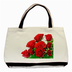 A Bouquet Of Roses On A White Background Basic Tote Bag