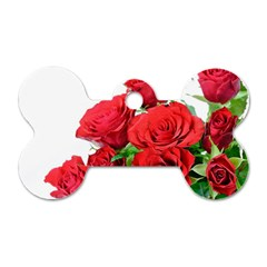 A Bouquet Of Roses On A White Background Dog Tag Bone (one Side)