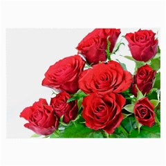 A Bouquet Of Roses On A White Background Large Glasses Cloth