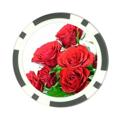 A Bouquet Of Roses On A White Background Poker Chip Card Guard
