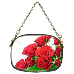 A Bouquet Of Roses On A White Background Chain Purses (two Sides)