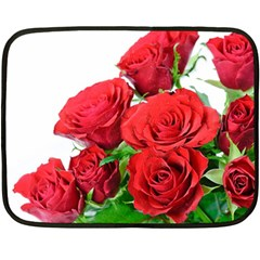 A Bouquet Of Roses On A White Background Double Sided Fleece Blanket (mini)