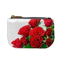A Bouquet Of Roses On A White Background Mini Coin Purses