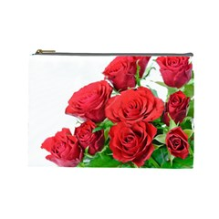 A Bouquet Of Roses On A White Background Cosmetic Bag (large)