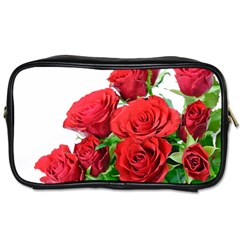 A Bouquet Of Roses On A White Background Toiletries Bags